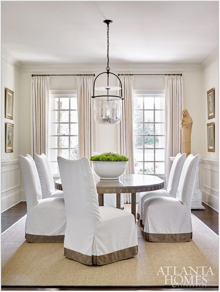 White Parsons Chairs Dining Room