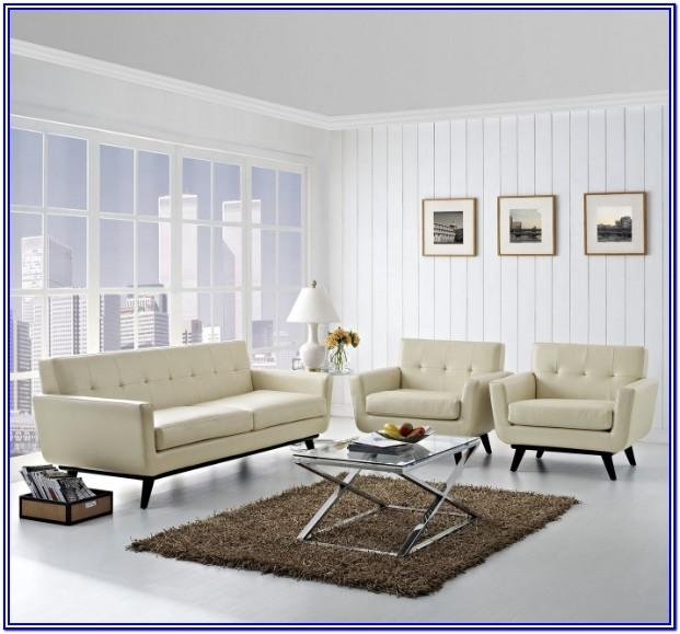 Beige Leather Living Room Set