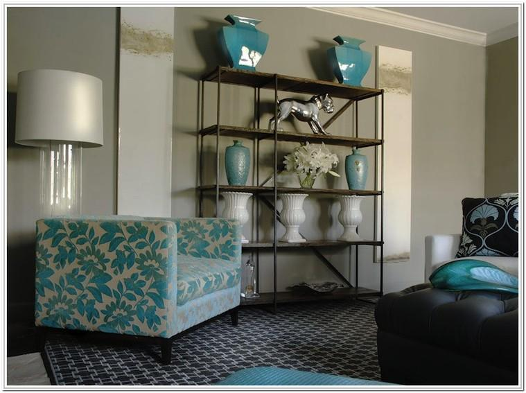 Black Grey And Turquoise Living Room