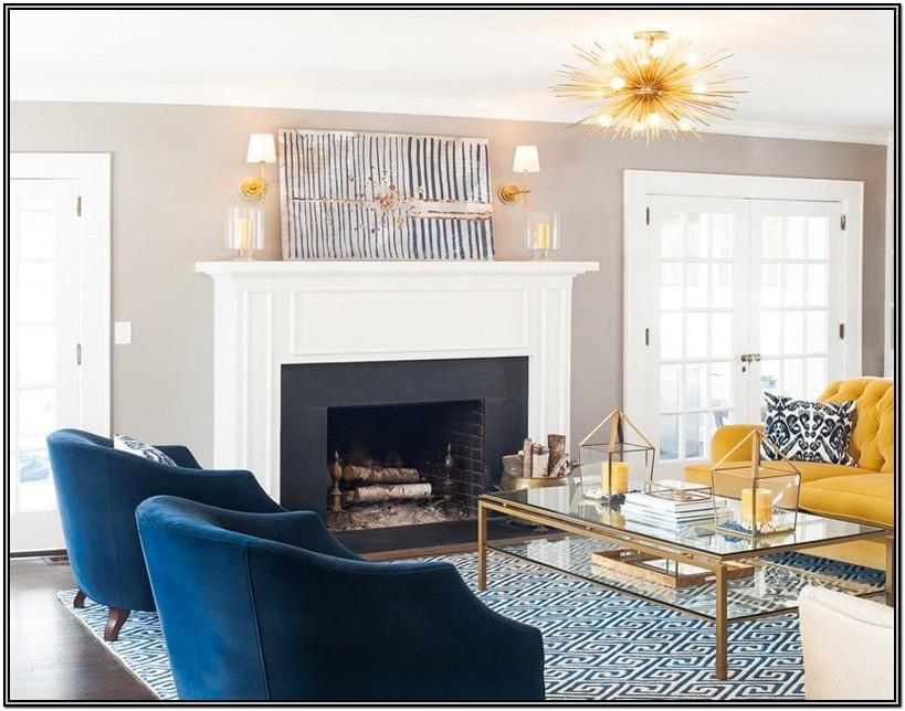 Blue And Gold Living Room Decor Ideas