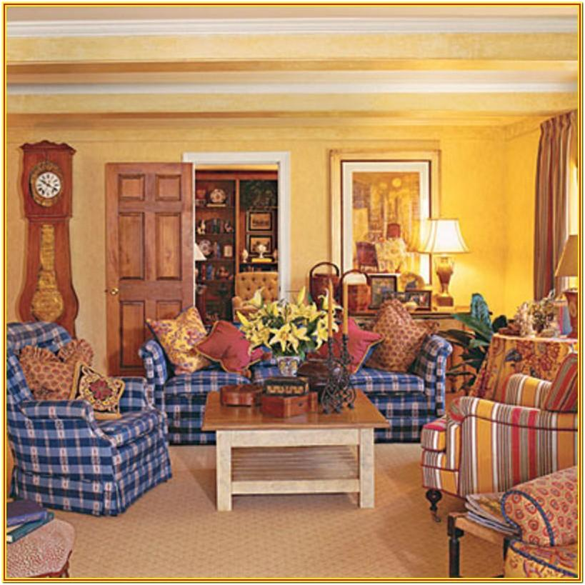 Blue French County Living Room Ideas