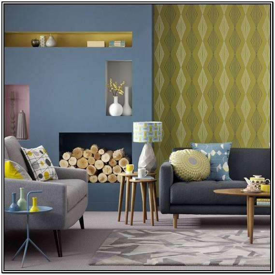 Blue Gray And Yellow Living Room
