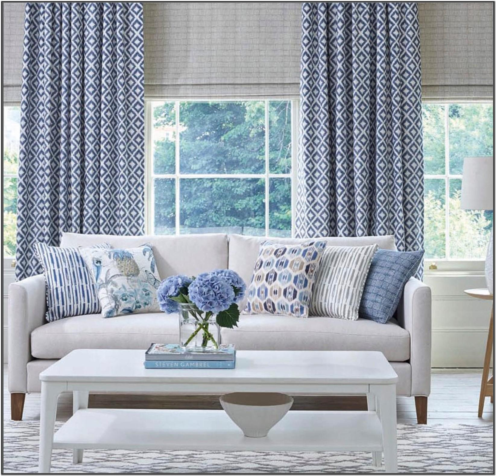 Blue Patterned Curtains Living Room