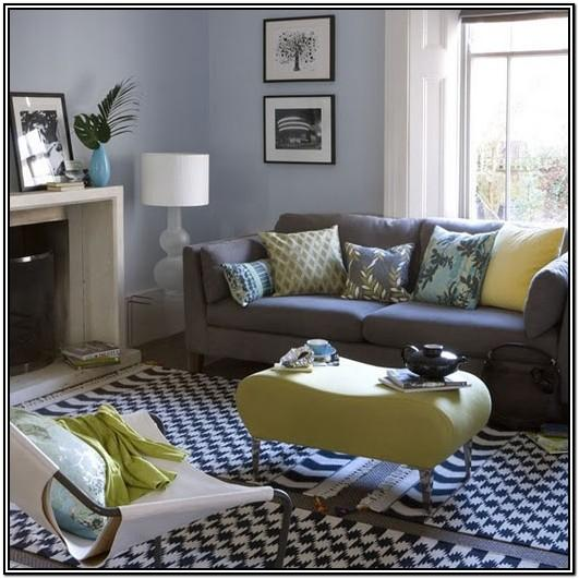 Blue Yellow Grey And White Living Room