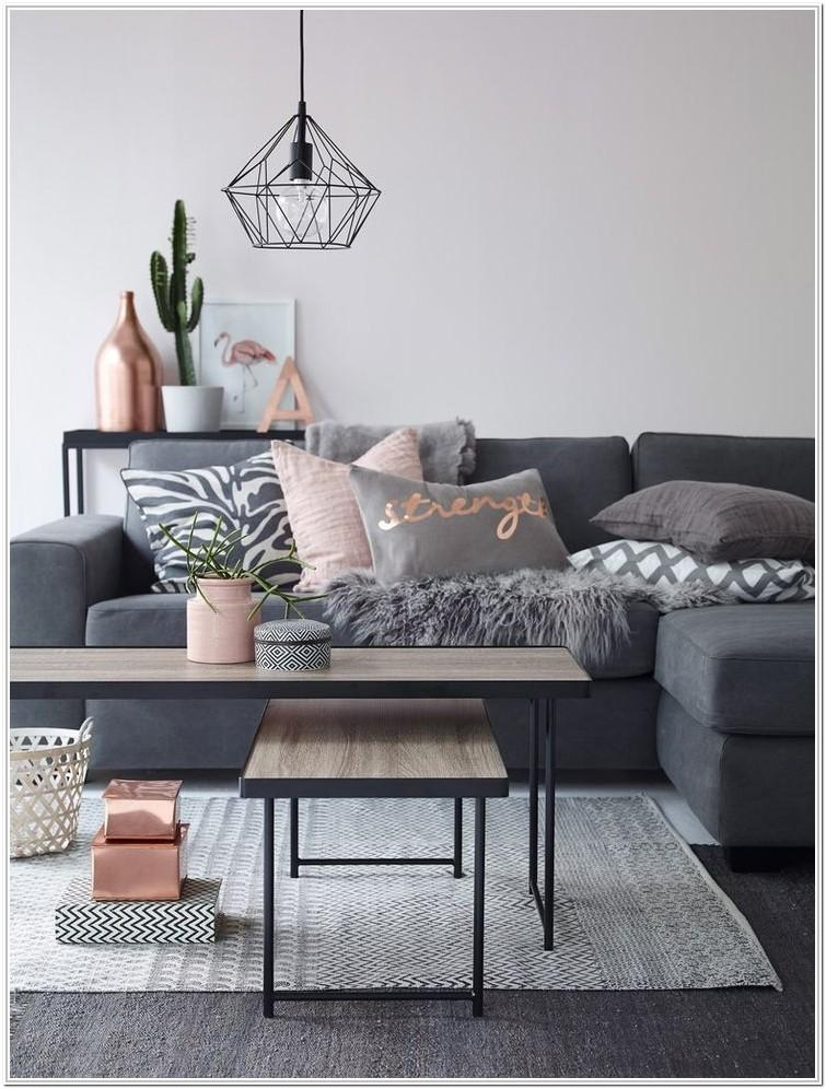 Blush Pink And Gray Living Room
