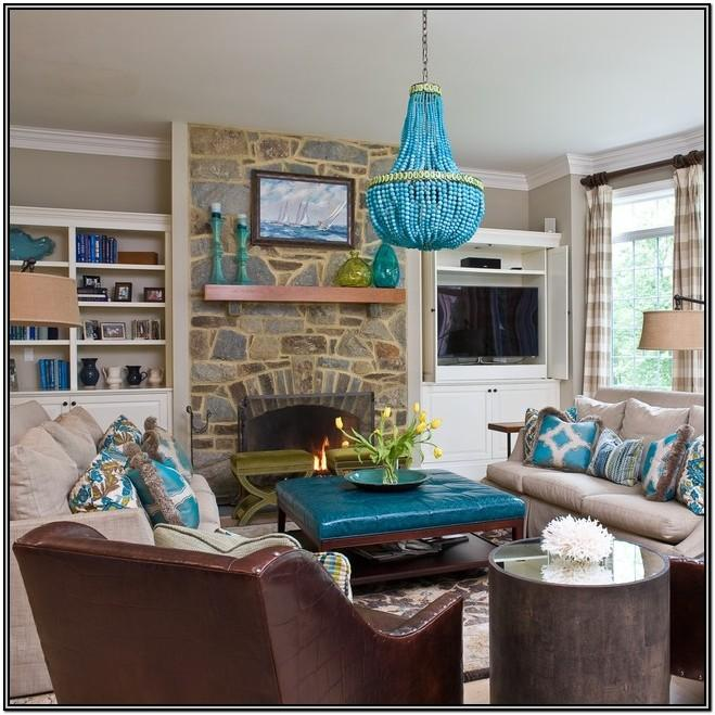 Brown Gray And Turquoise Living Room