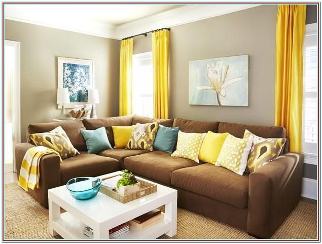 Brown Teal And Yellow Living Room