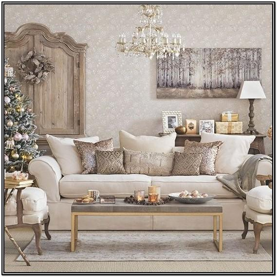 Champagne Gold And White Living Room Ideas