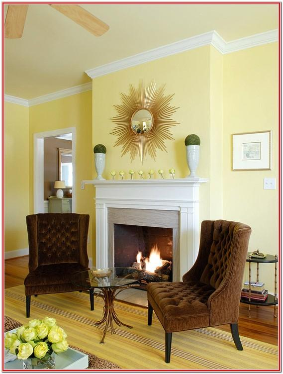 Dark Brown And Yellow Living Room