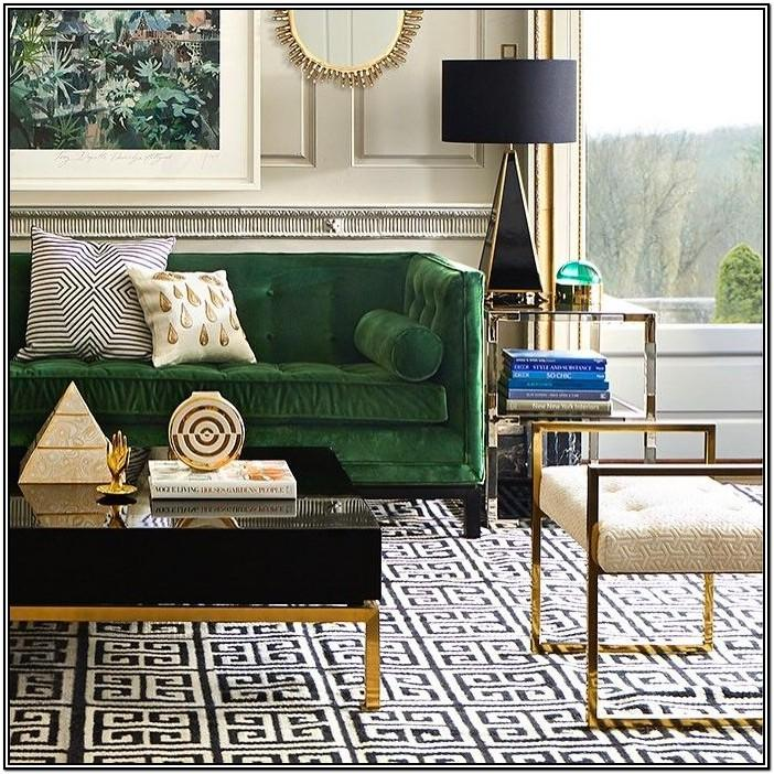 Dark Green And Gold Living Room