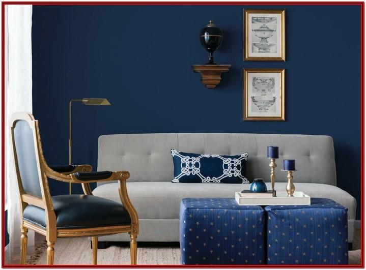 Dark Grey And Navy Blue Living Room
