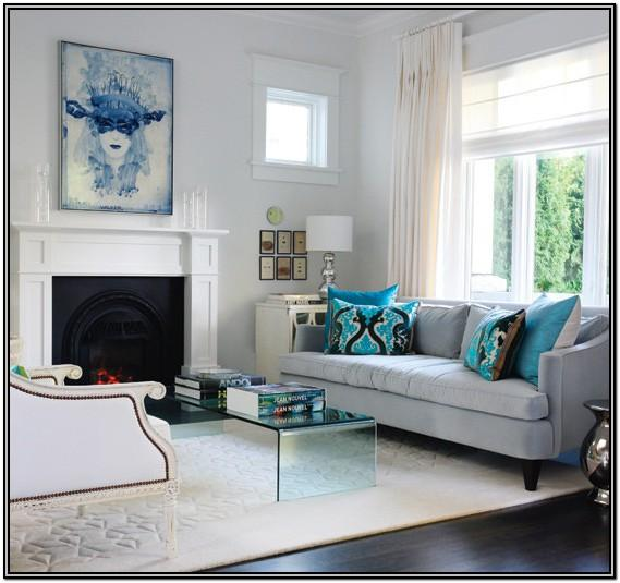 Dark Grey Gray And Turquoise Living Room