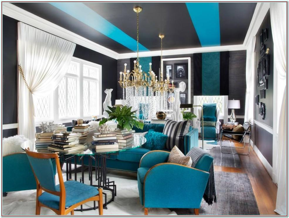Dark Teal And Yellow Living Room
