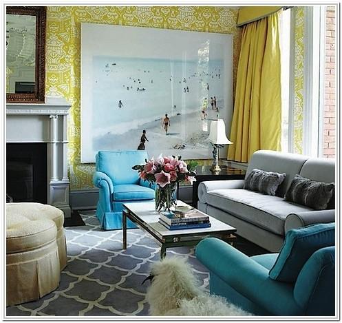 Design Grey And Turquoise Living Room