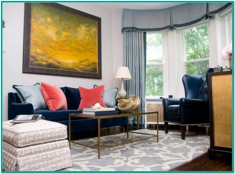 Design Navy Blue And Gold Living Room