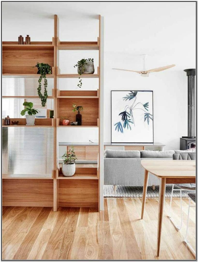 Divider Shelves Wooden Living Room Partition Ideas