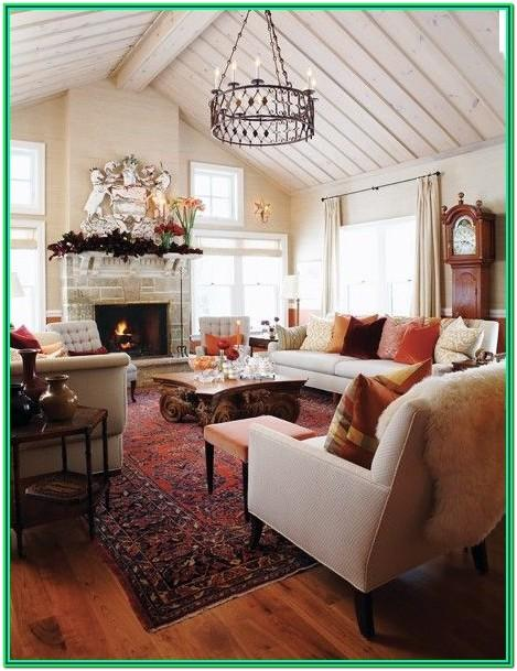 Farmhouse Living Room With Red Accents