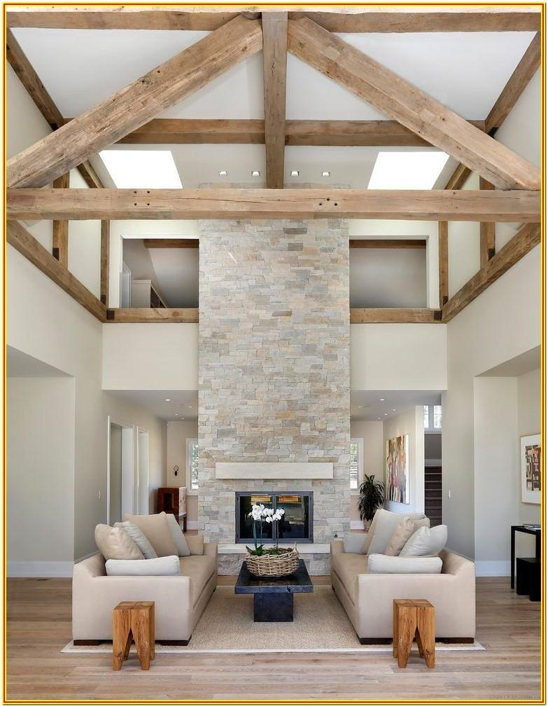 Farmhouse Living Room Wood Ceiling