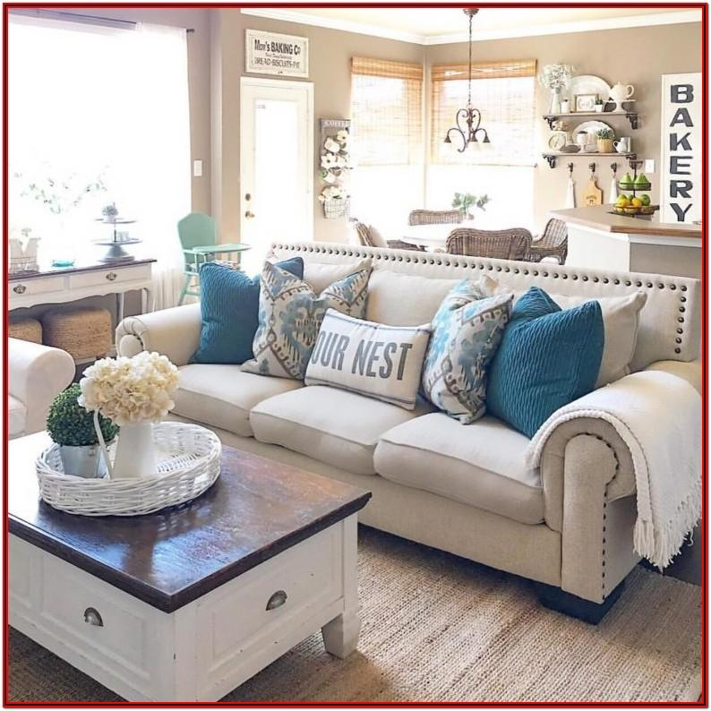 Farmhouse Tan Couch Living Room
