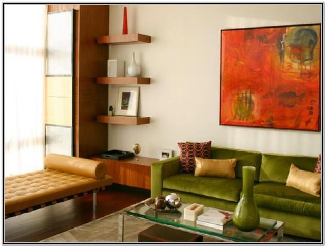Floating Wooden Shelves Living Room
