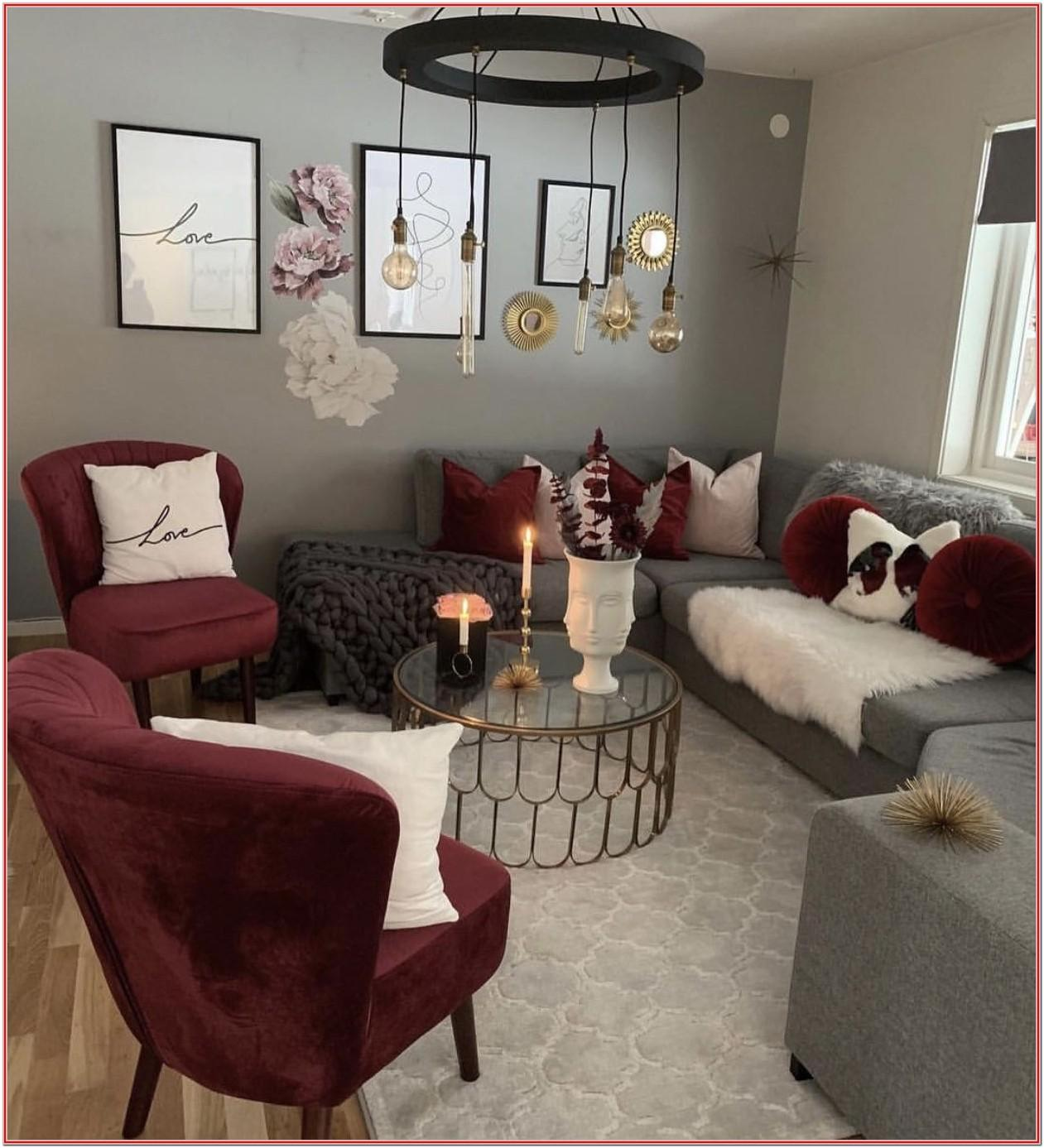 Gray And Burgundy Living Room Decor