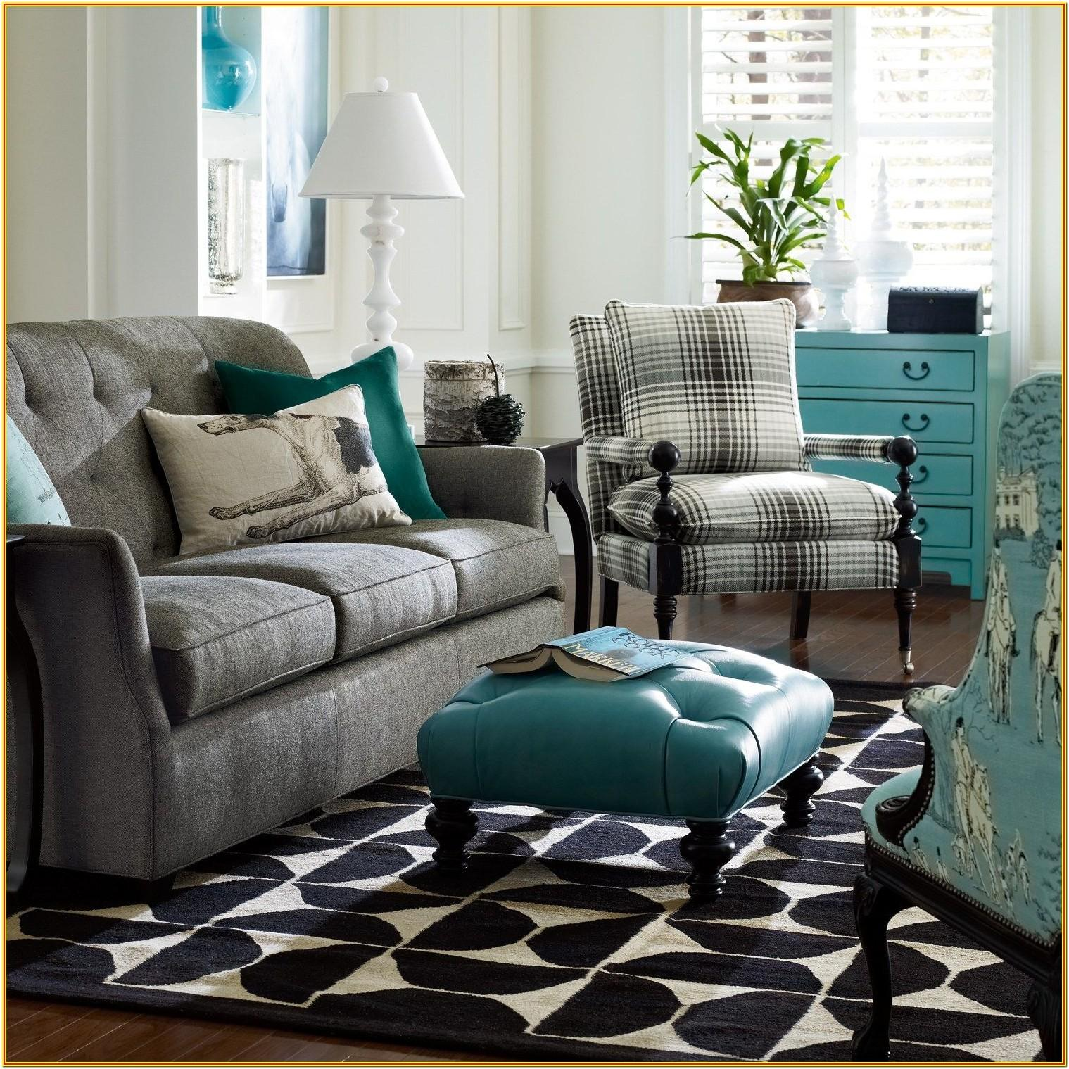 Gray Living Room With Teal Accents