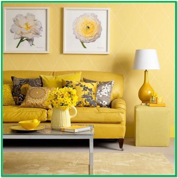 Gray Living Room With Yellow Accents
