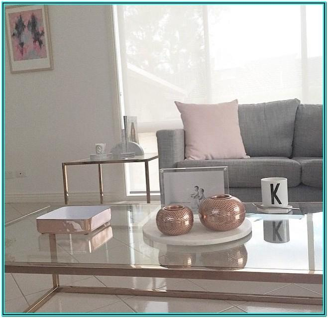 Gray Pink And Gold Living Room