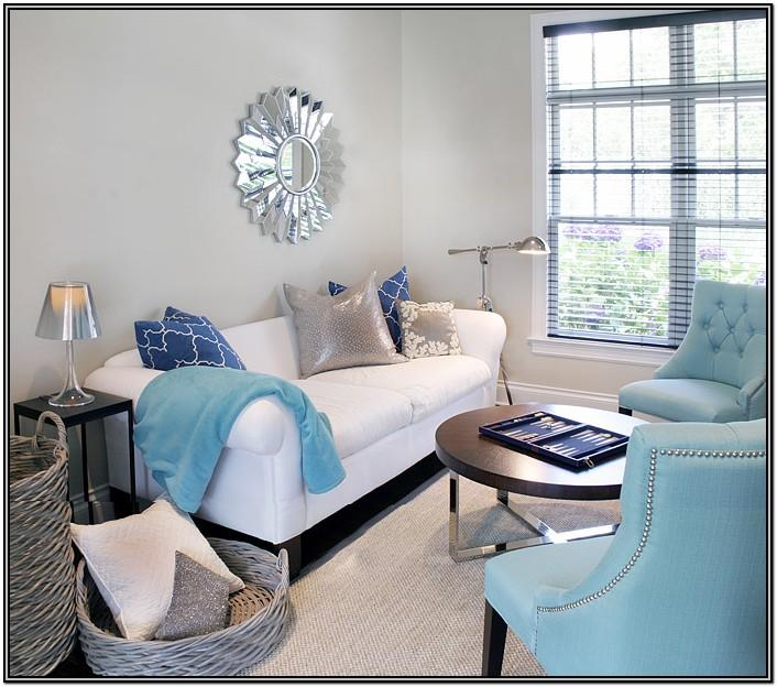 Gray White And Turquoise Living Room