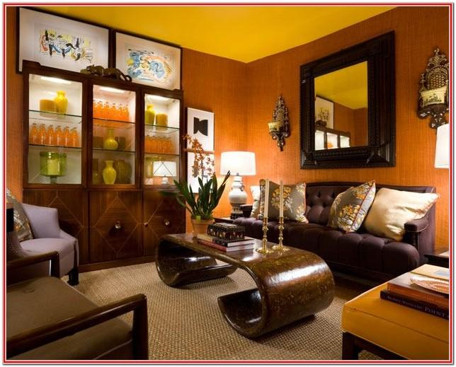 Grey Brown And Yellow Living Room