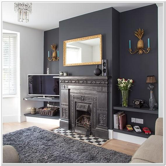 Grey Feature Wall Living Room Ideas