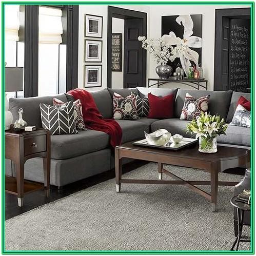 Grey Living Room With Red Accents