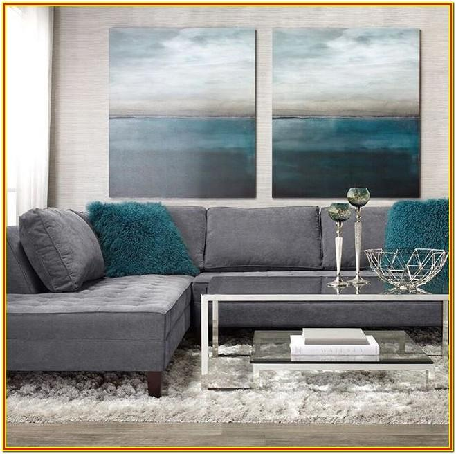 Grey Living Room With Teal Accents
