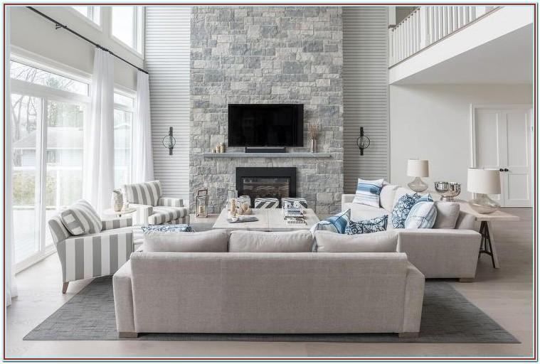 Grey Stone Accent Wall Living Room