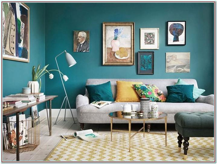 Grey Teal And Yellow Living Room