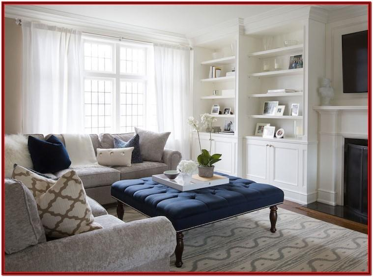 Light Grey And Navy Blue Living Room