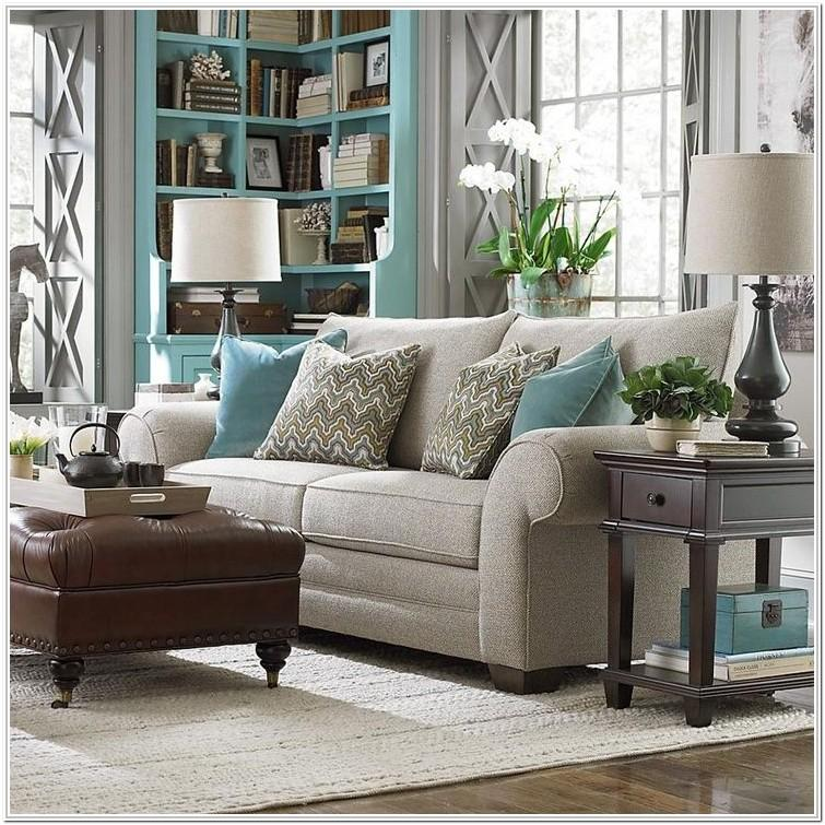 Light Grey And Turquoise Living Room