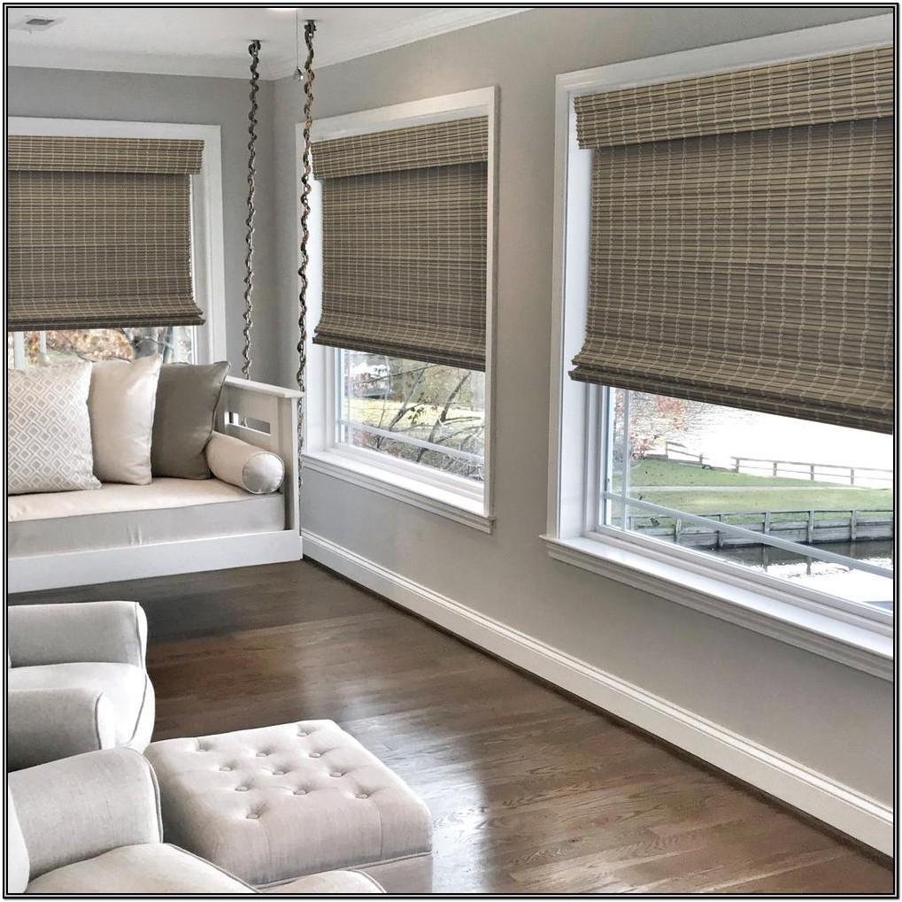 Living Room Bamboo Roman Shades
