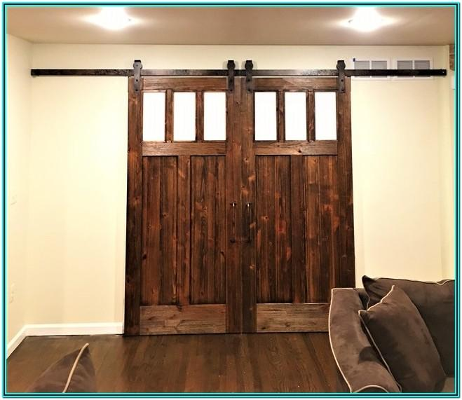 Living Room Barn Door Window Coverings
