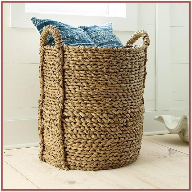 Living Room Blanket Storage Basket With Lid