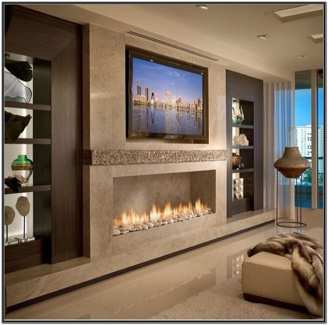Living Room Built In Gas Fireplace