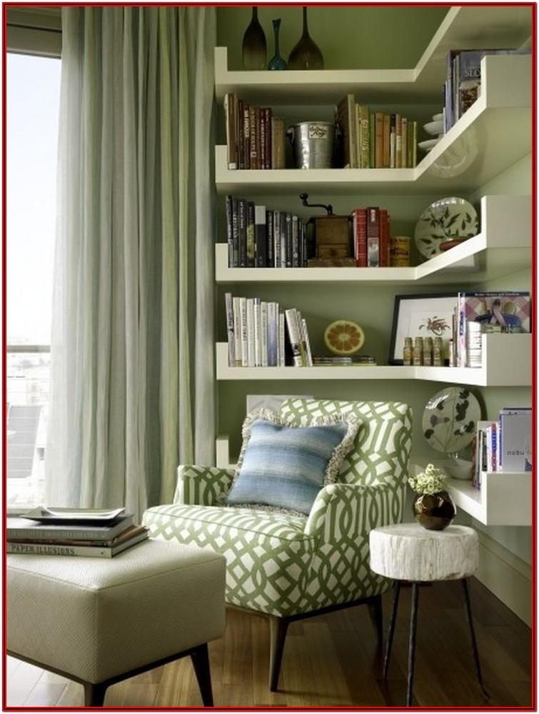 Living Room Corner Shelves Decorating Ideas
