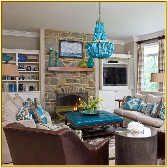 Living Room Decorated With Turquoise Chickens