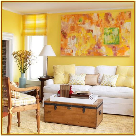 Living Room Decorated With Yellow