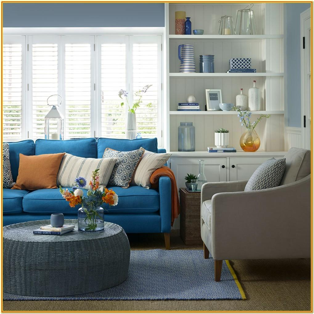 Living Room Decorating Ideas Blue Sofa