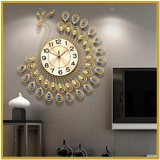 Living Room Gallery Wall With Clock