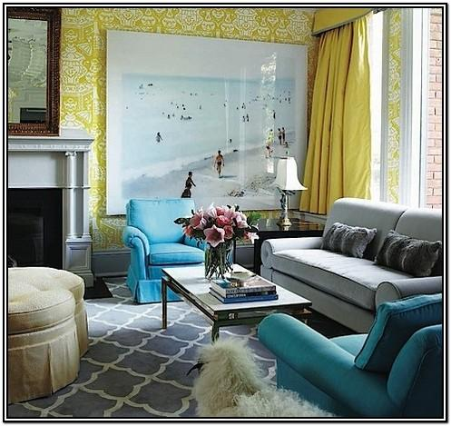 Living Room Grey Blue And Yellow Color Scheme