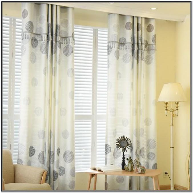 Living Room Grey Patterned Curtains