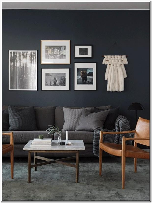 Living Room Grey Walls Dark Brown Furniture Bedroom