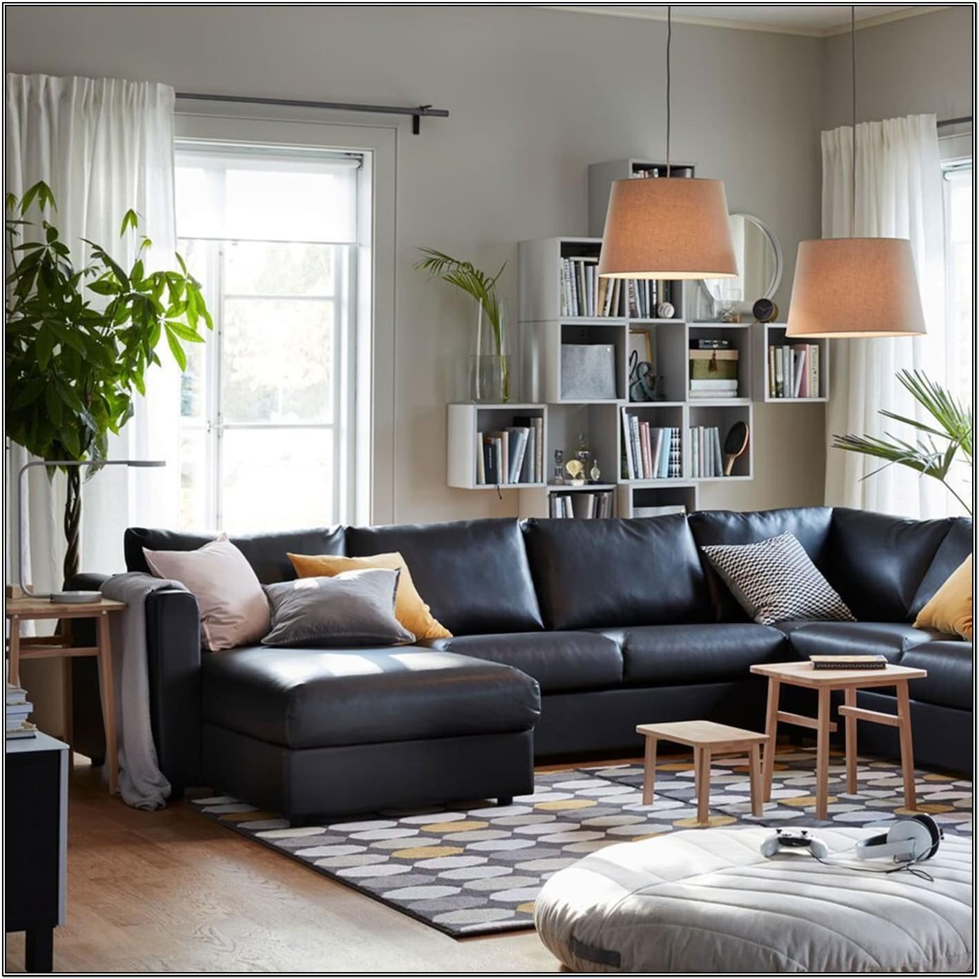 Living Room Ikea Leather Sofa